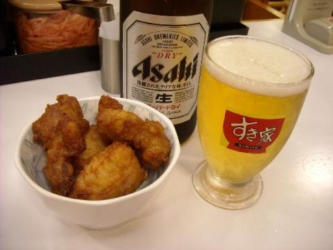 すき家 三条東裏館店・ ビール から揚げ