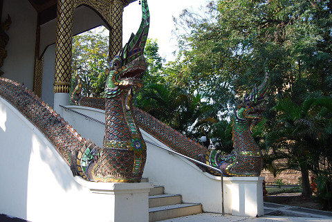 お寺の前のドラゴン