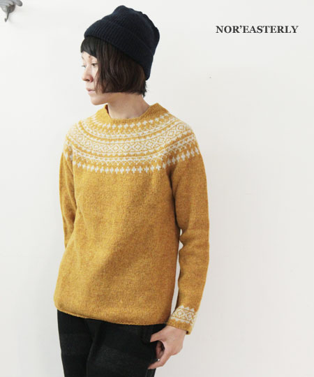 NOR'EASTERLY / ノア イースターリー L/S WIDE NECK 2TONE NORDIC SWEATER