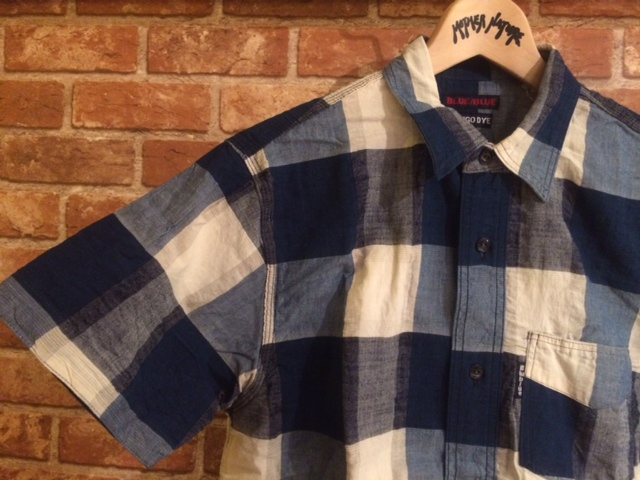 BB インディゴCHK半袖ワークシャツ2