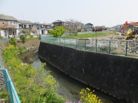 宮川橋仮設橋より鶴見川下流を望む
