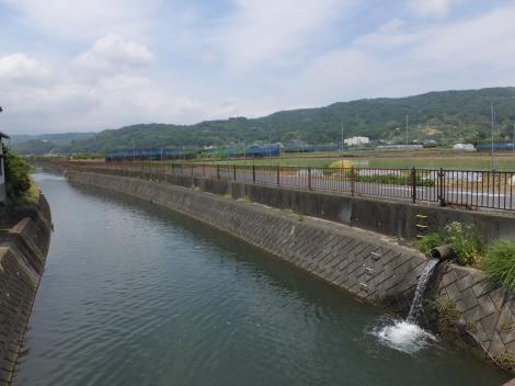 小田原球場前宮前橋から酒匂堰上流を望む