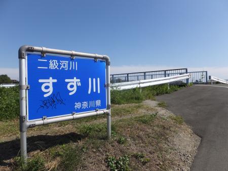 「二級河川すずかわ神奈川県」の看板