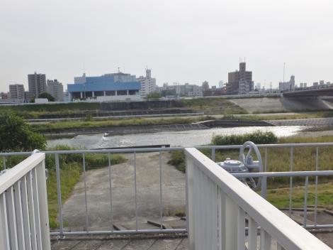 矢田川右岸より対岸を望む・三階橋上流