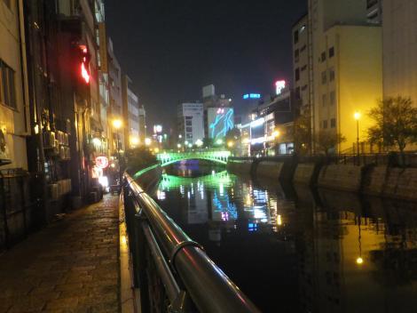 堀川左岸より納屋橋を望む・夜景