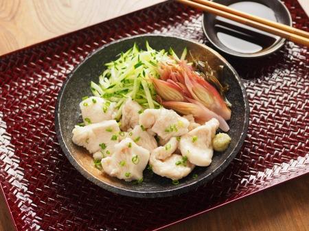 水晶鶏の刺身風甘酢茗荷10