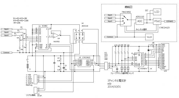 3チャンネル電圧計