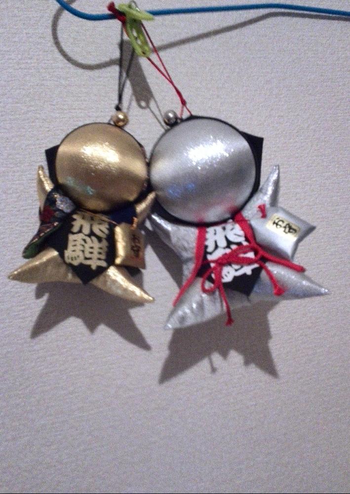 パーキングエリア『養老』で購入した金銀の人形型の御守り