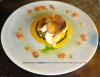 ほうぼうのポワレと夏野菜のホワイトバルサミコマリネ サフランクリームソース