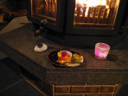 暖炉室でのデザート