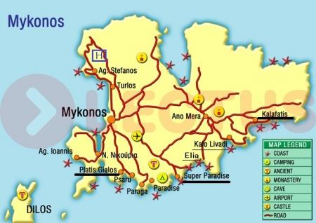 ミコノスビーチ地図