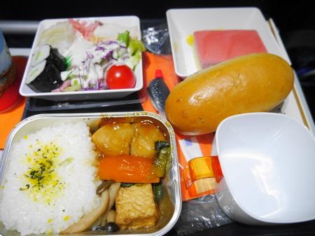 アエロフロートモスクワ行 最初の機内食