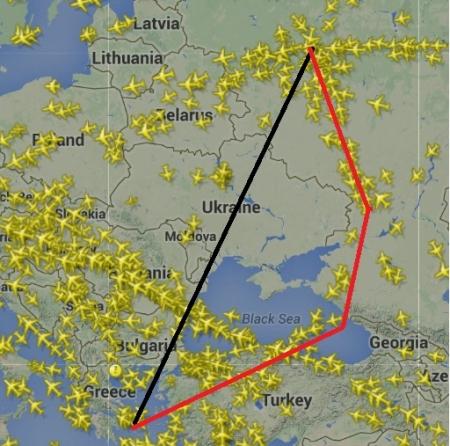 モスクワアテネ フライト地図