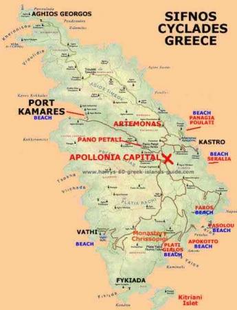 シフノス島地図