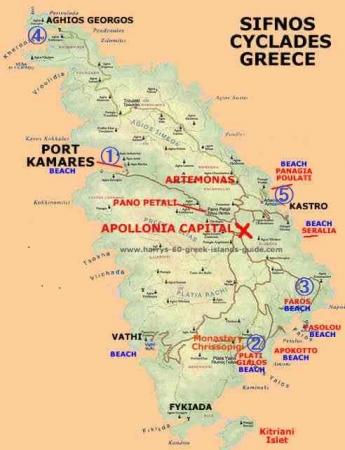 シフノス島ビーチ地図