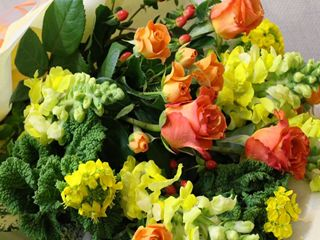 黄色オレンジ系の花束お届け