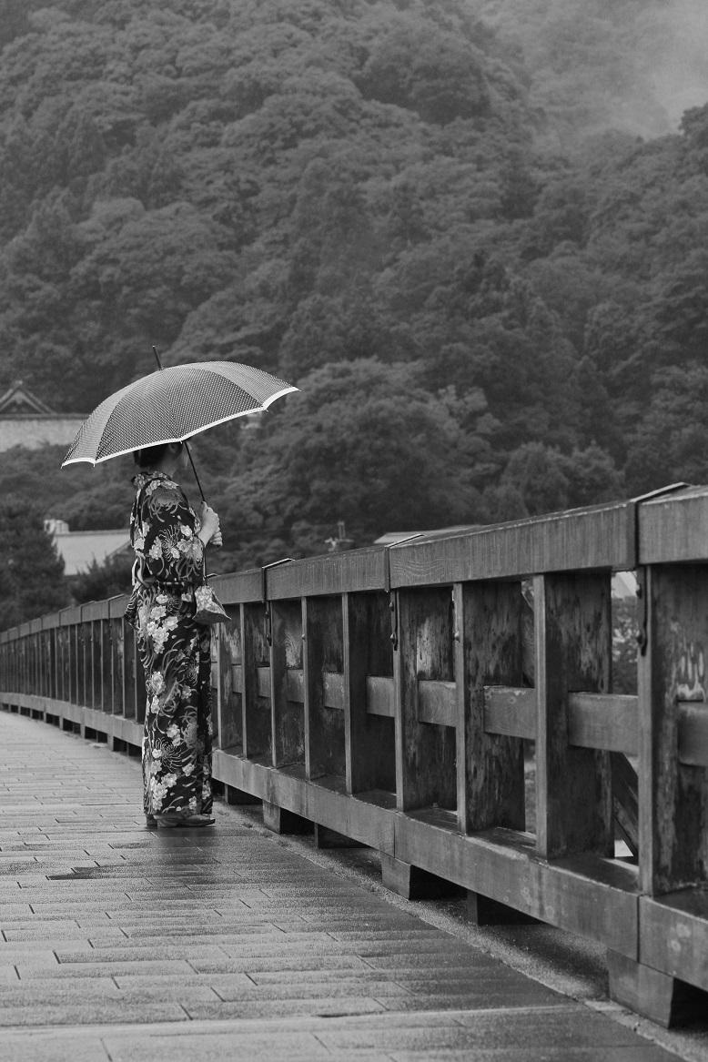 ブログ白黒渡月橋雨1