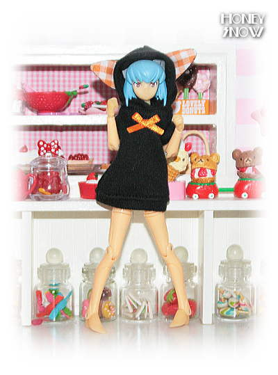 1/12DOLL【フードワンピ】 服 ネコ耳 ハロウィン 武装神姫、figma、オビツ11、ピコニーモ