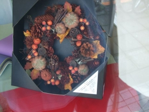 彩か CXO-210M Wreath-Orange pinecone&Pumpkin M