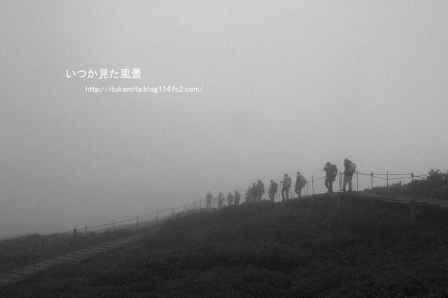 雨霧の中を進む