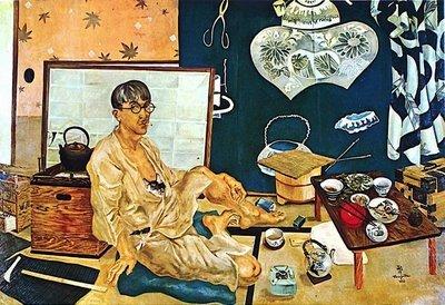 フジタ、Portrait de Léonard Foujita avec au fond le tsutsugaki quil a réalisé