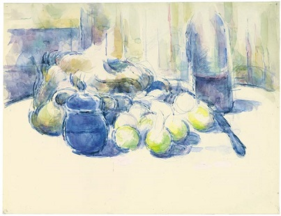 cezanne,Still Life with Pears and Apples, Covered Blue Jar, and a Bottle of Wine