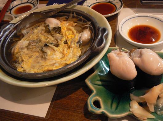 柳川鍋のカキと寿司