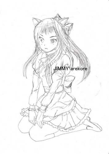 01-Nekomimi girl02 pencil