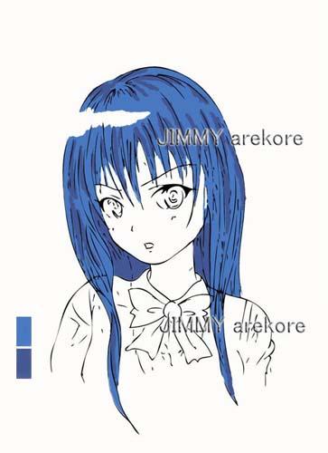 14-aoni髪に影