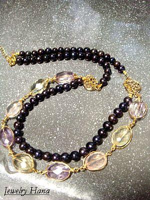 宝石質マルシカラー天然石ネックレス カラーストーンとネイビーカラーパールの華やかネックレス