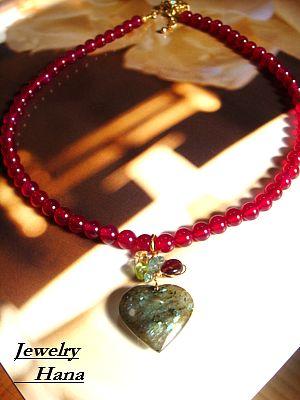 天然石ハートのネックレス ラズベリーカラー&ラブラドライトの大人かわいいネックレス