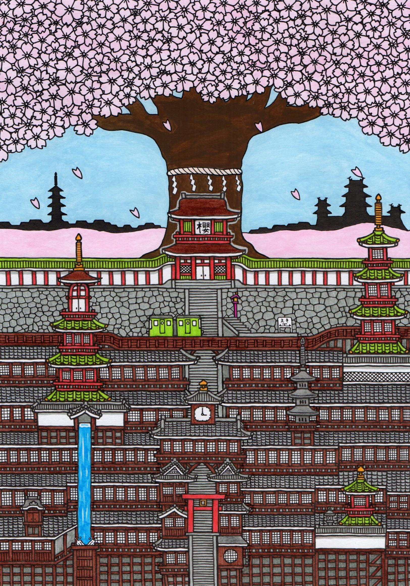 大きな桜の町