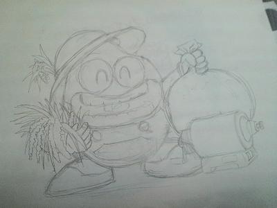 ポン菓子キャラクターの清書用下描
