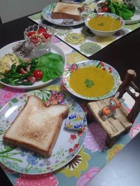 かぼちゃスープで朝ごはん