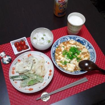 麻婆豆腐と天婦羅ごはん
