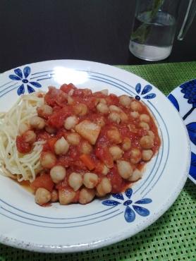 ひよこ豆のトマトパスタ