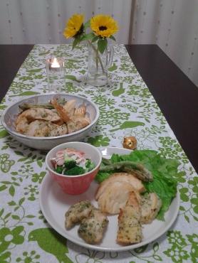 インゲン豆と筍の天ぷら
