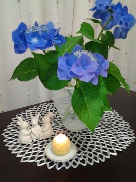紫陽花とキャンドルとうさぎ