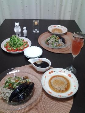 揚げ茄子と山菜のちゅるりんそばアップ