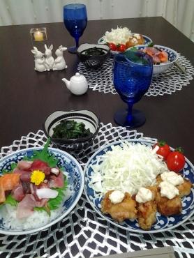 チキン竜田と海鮮丼の晩ごはん