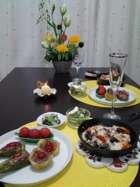ピーマンの肉詰め&鮭とラタトゥイユのグラタン風