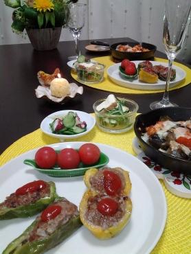 ピーマンの肉詰め&鮭とラタトゥイユのグラタン風2