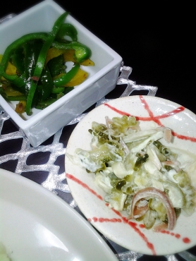 ゴーヤサラダとアンヒョビピーマン