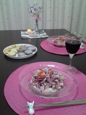 紫色のサラダの晩ごはん2