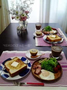 トーストと目玉焼きのモーニング