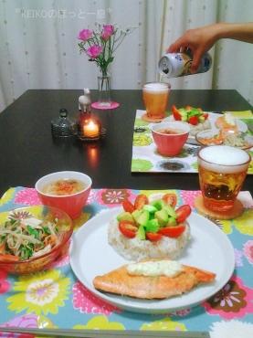 アボカドとトマトのデコ寿司ビールと2