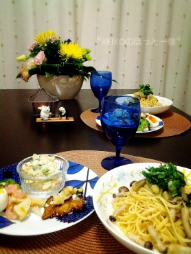 タラコパスタとお総菜