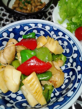 鶏肉とピーマンと筍の中華風炒めものアップ