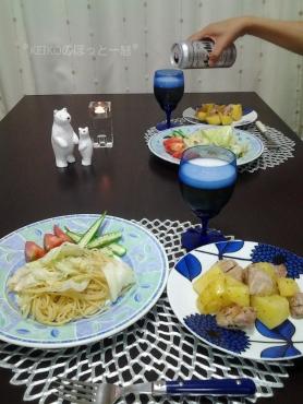 鶏肉とポテトのバジル風味とビール2