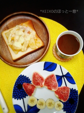 ベーコンポテトチーズトースト&無花果バナナ
